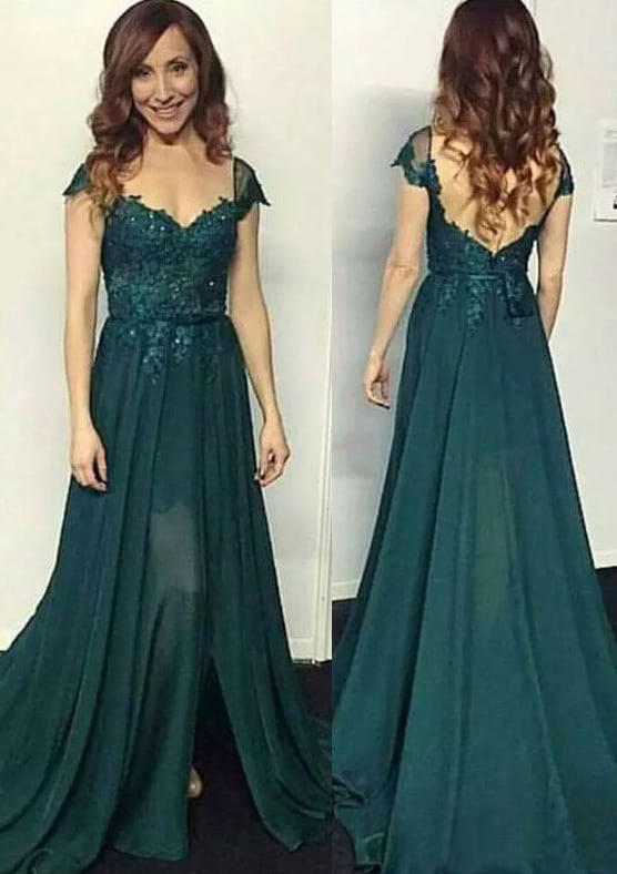 A-Line/Princess V Neck Sleeveless Sweep Train Chiffon Prom Dress With Split Lace