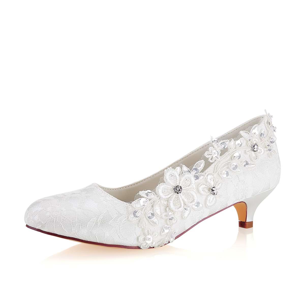 Close Toe Kitten Heel Lace Wedding Shoes