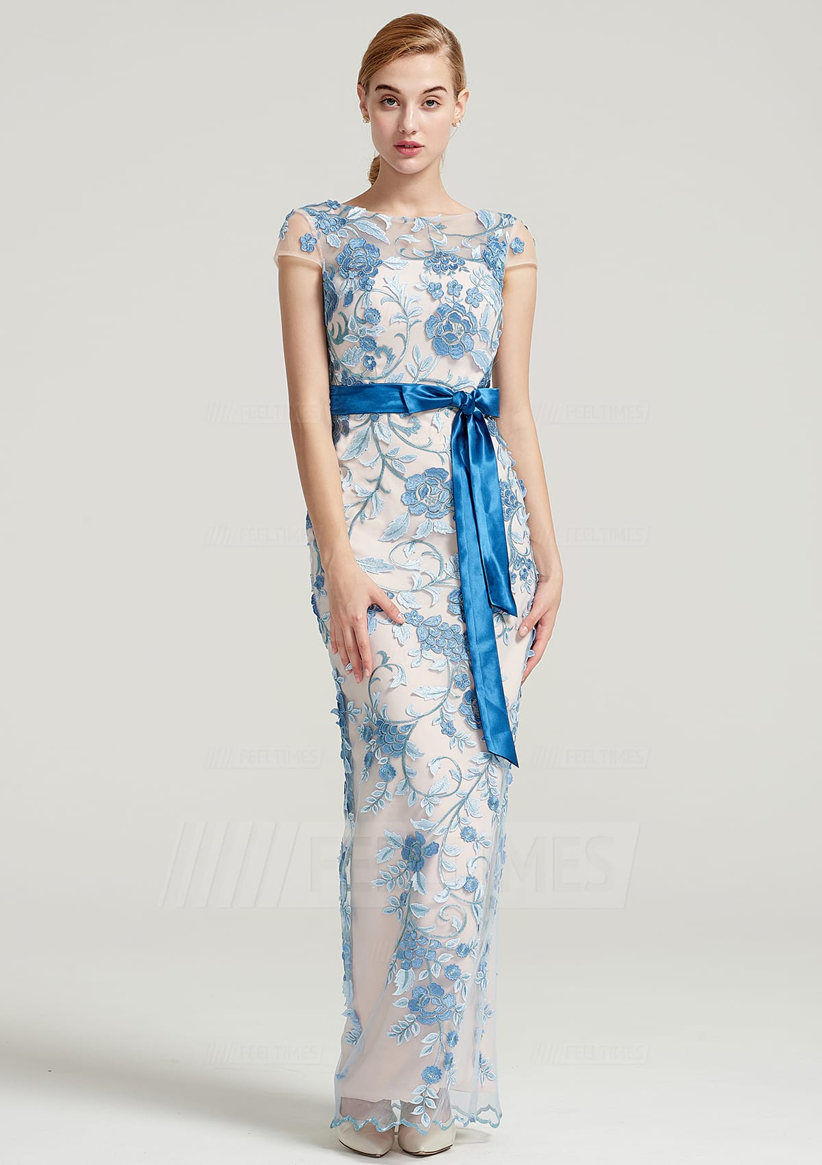 Sheath/Column Bateau Short Sleeve Long/Floor-Length Tulle Dress With Sashes Appliqued