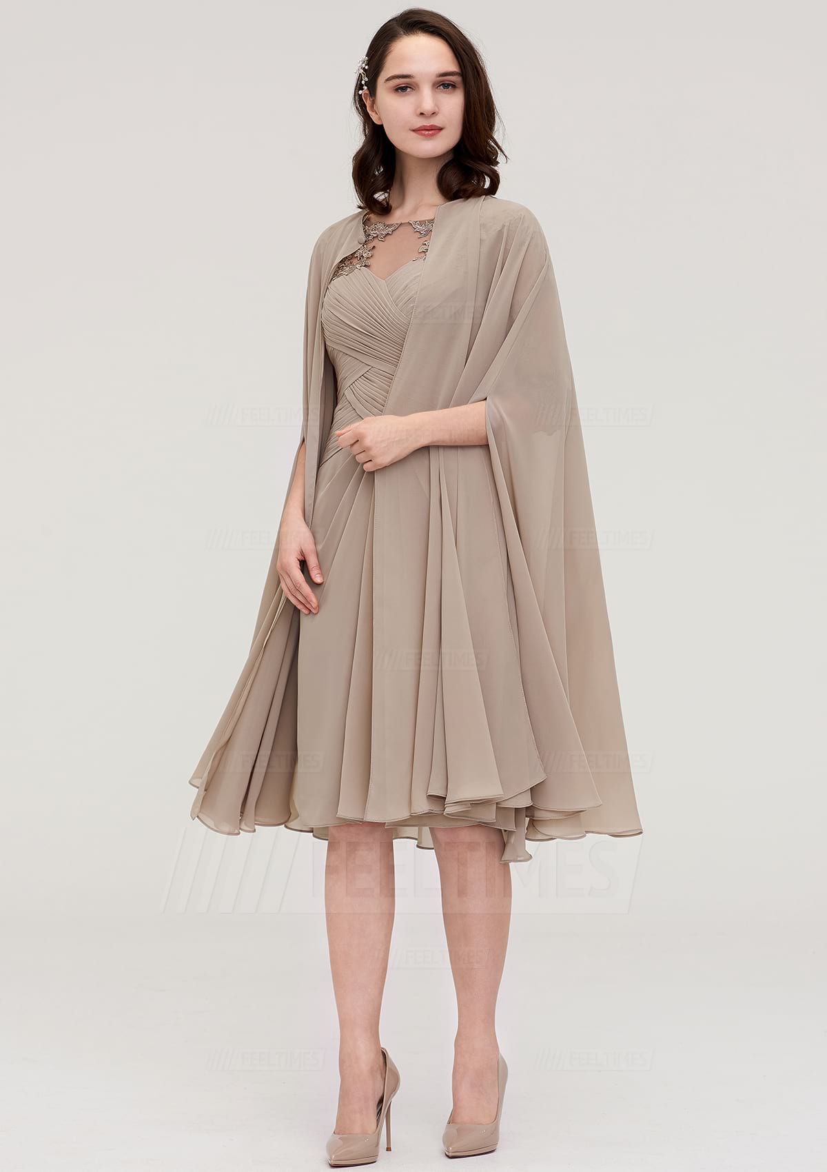 Sheath/Column Bateau Half Sleeve Knee-Length Chiffon Mother Of The Bride Dress With Jacket Appliqued Pleated