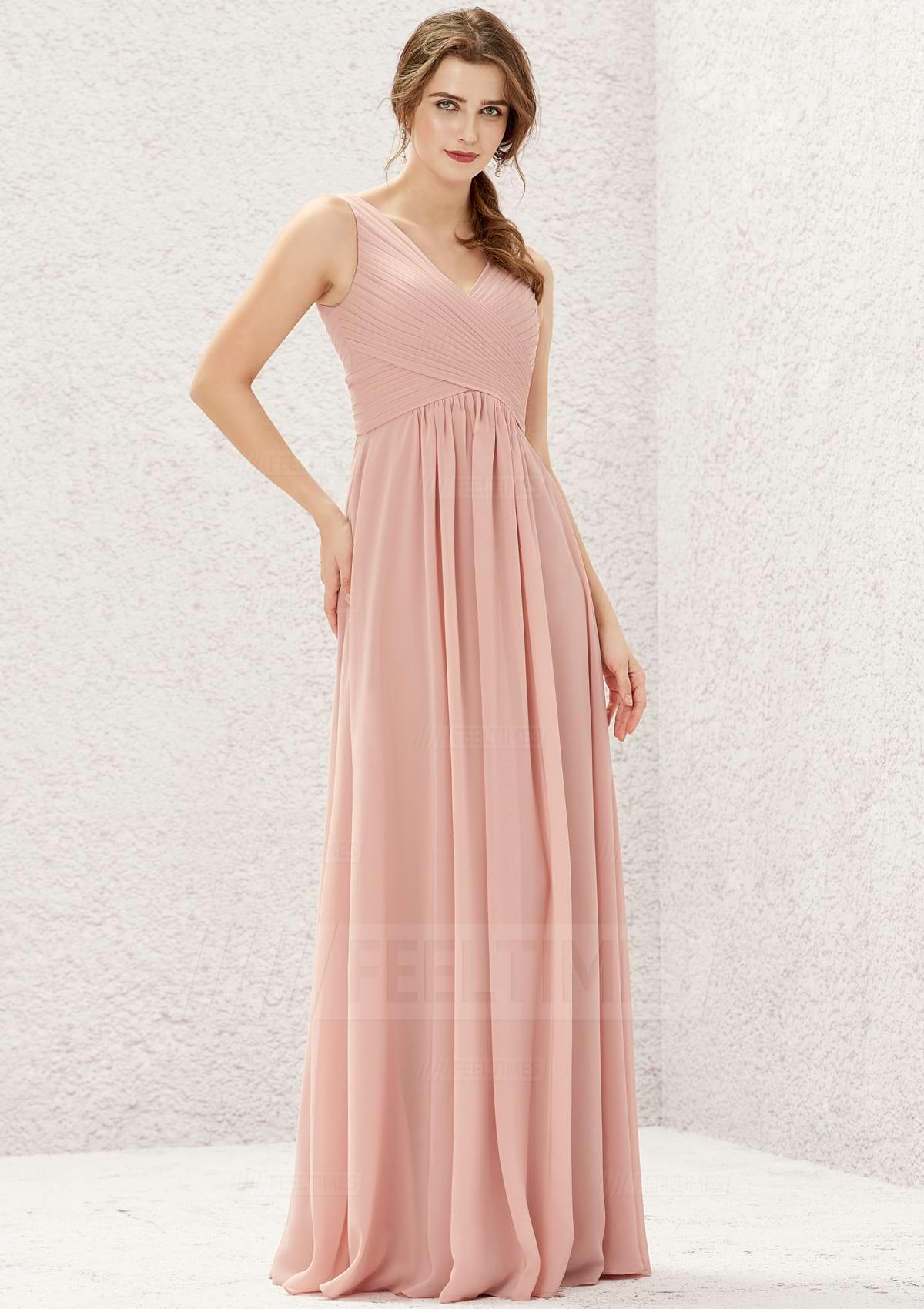 A-line/Princess Sleeveless Long/Floor-Length Chiffon Bridesmaid Dress With Pleated