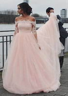 Ball Gown Off-The-Shoulder Full/Long Sleeve Court Train Tulle Wedding Dress With Appliqued