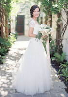 A-Line/Princess Bateau Short Sleeve Long/Floor-Length Tulle Wedding Dress With Appliqued Lace Sashes