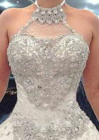 Ball Gown Halter Sleeveless Cathedral Train Lace Wedding Dress With Appliqued Beading Crystal
