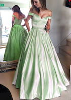 Ball Gown Off-The-Shoulder Sleeveless Long/Floor-Length Satin Prom Dress With Waistband Beading