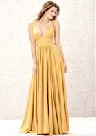 A-line/Princess Long/Floor-Length V Neck Sleeveless Charmeuse Prom Dress With Split