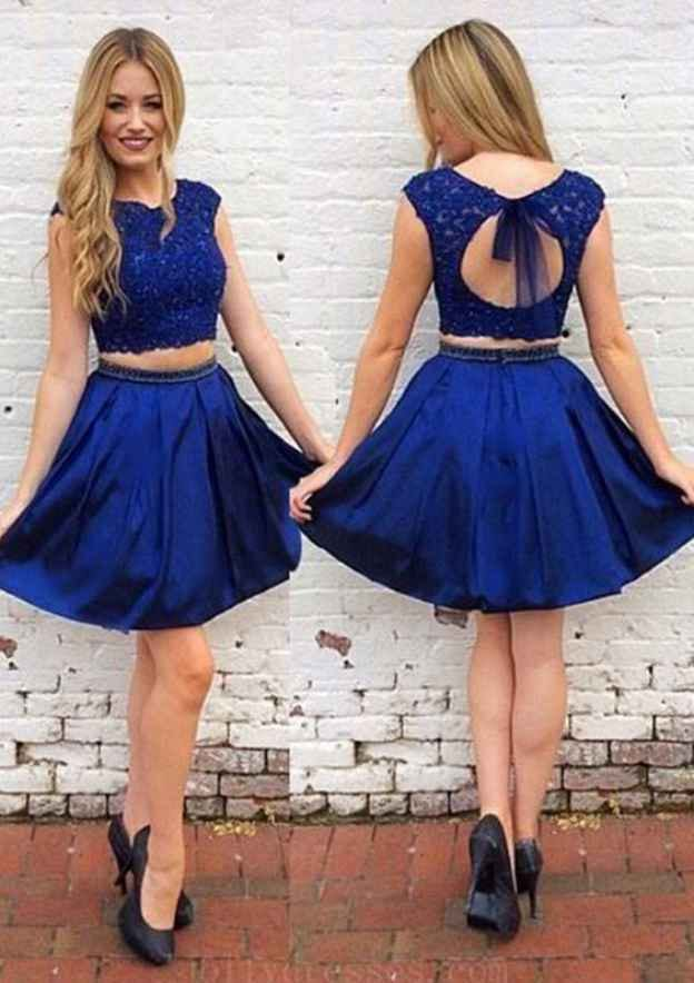 A-Line/Princess Scoop Neck Sleeveless Short/Mini Charmeuse Homecoming Dress With Appliqued