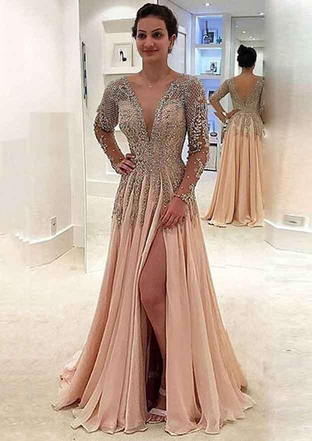 A-Line/Princess V Neck Full/Long Sleeve Sweep Train Chiffon Prom Dress With Split Appliqued Beading