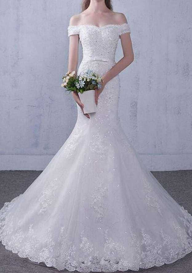 Trumpet/Mermaid Off-The-Shoulder Sleeveless Chapel Train Lace Wedding Dress With Appliqued Bowknot Rhinestone