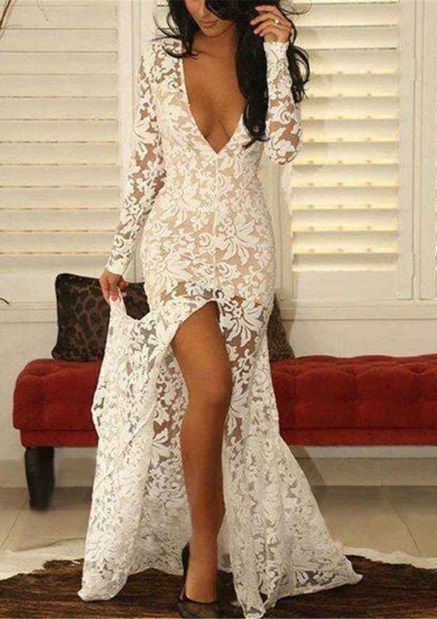 Trumpet/Mermaid V Neck Full/Long Sleeve Sweep Train Lace Prom Dress With Split