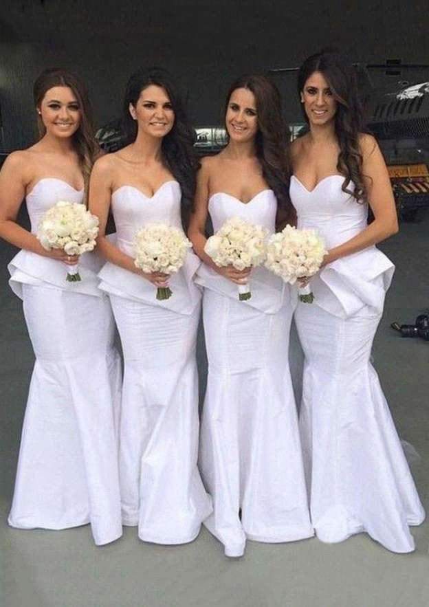 Trumpet/Mermaid Sweetheart Sleeveless Long/Floor-Length Taffeta Bridesmaid Dresses
