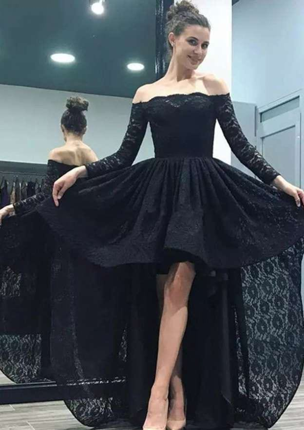 A-Line/Princess Off-The-Shoulder Full/Long Sleeve Asymmetrical Lace Prom Dress