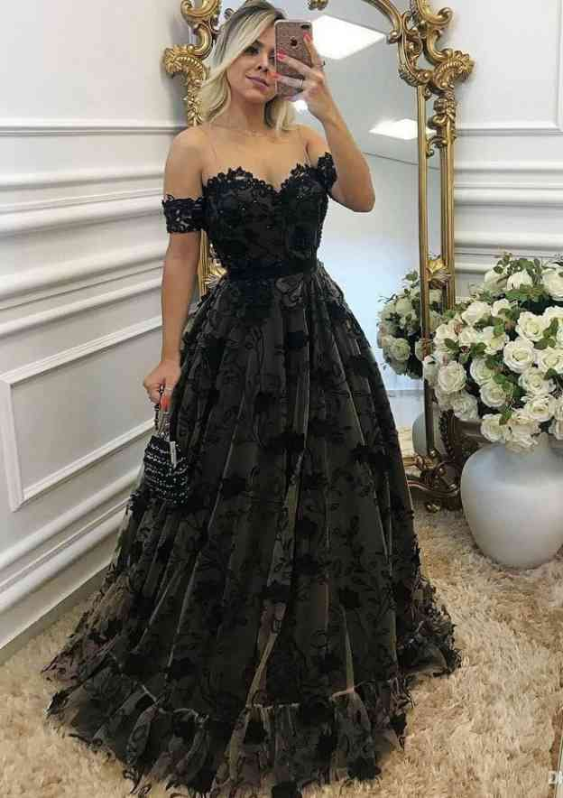 A-Line/Princess Off-The-Shoulder Sleeveless Long/Floor-Length Lace Prom Dress With Appliqued