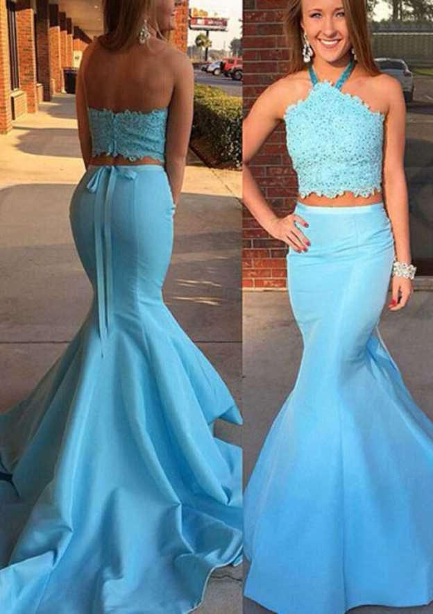 Trumpet/Mermaid Halter Sleeveless Court Train Satin Prom Dress With Appliqued