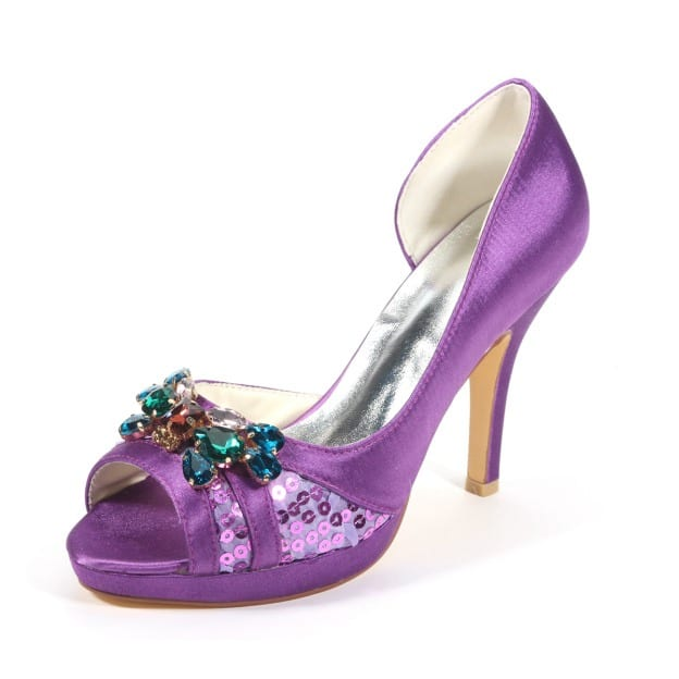 Pumps Platform Peep Toe Stiletto Heel Satin Wedding Shoes With Others Crystal Sequins
