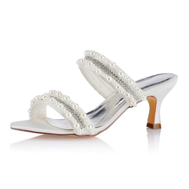 Sandals Slingbacks Spool Heel Satin Wedding Shoes With Beaded Rhinestone