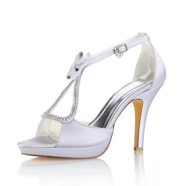 Peep Toe Platform Pumps Stiletto Heel Satin Wedding Shoes With Bowknot Buckle Rhinestone