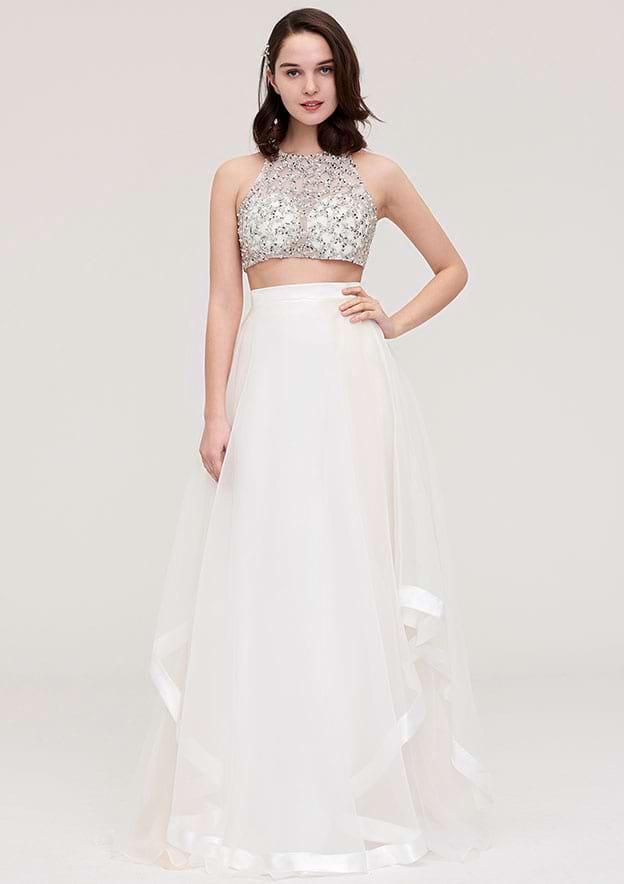 A-Line/Princess Halter Sleeveless Long/Floor-Length Tulle Prom Dress With Ruffles Crystal