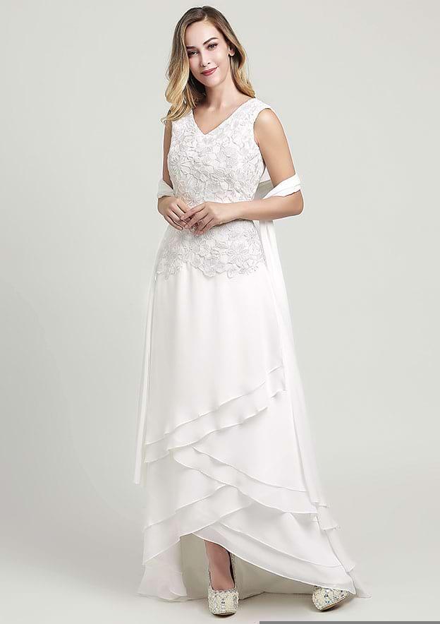 A-line V Neck Asymmetrical Chiffon Wedding Dress With Lace Shawl