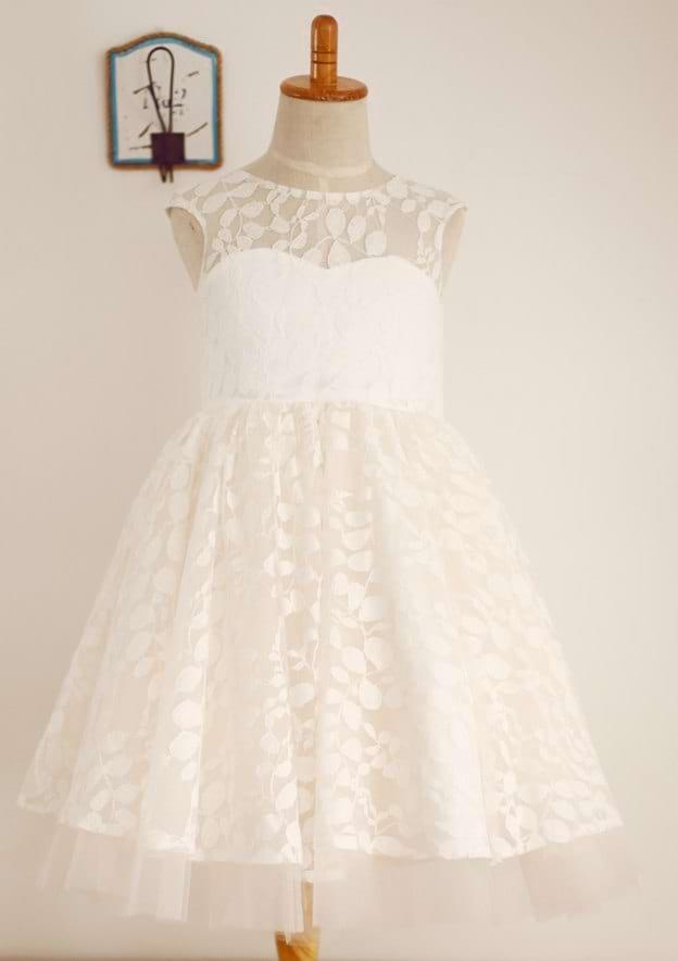 A-line/Princess Tea-Length Scoop Neck Lace Flower Girl Dress