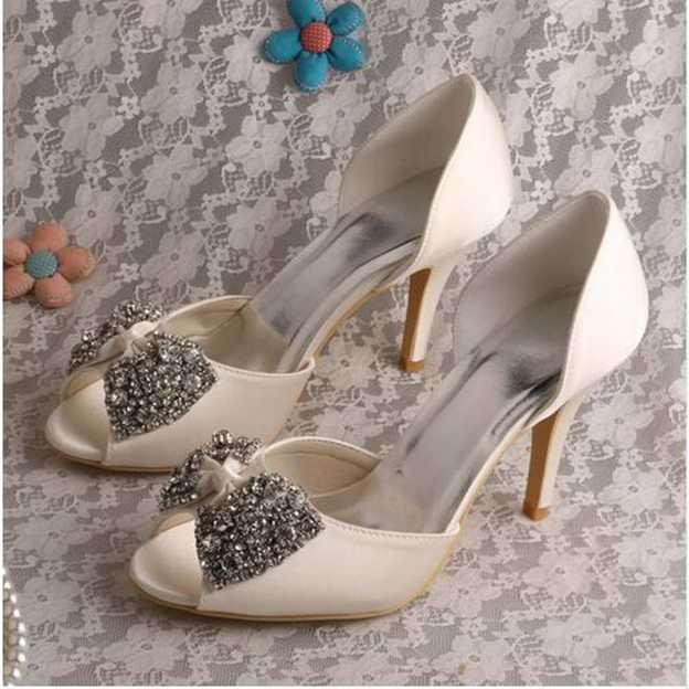 Women's Satin With Rhinestone Bowknot Heels Pumps Peep Toe Wedding Shoes
