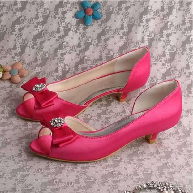 Women's Satin With Rhinestone Bowknot Peep Toe Wedding Shoes
