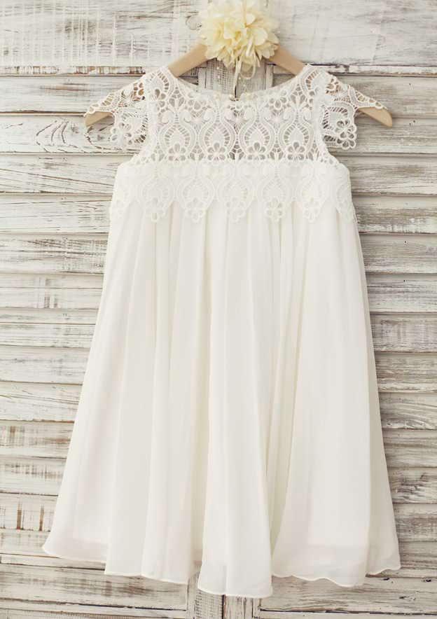 A-line/Princess Knee-Length Scoop Neck Short Sleeve Chiffon/Lace Flower Girl Dress
