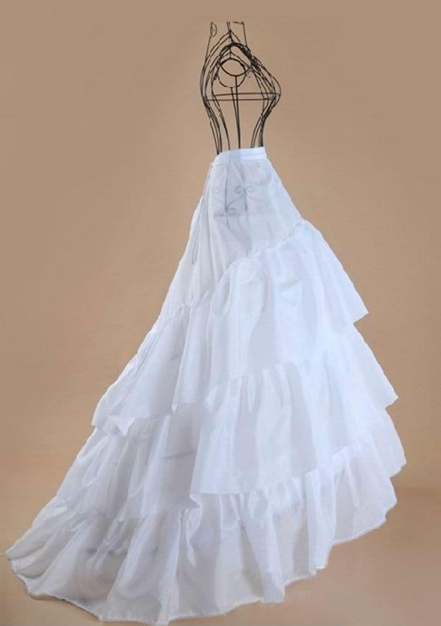 Women Polyester Chapel Train 3 Tiers Bridal Petticoats