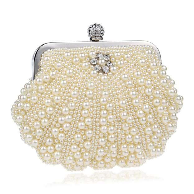 Elegant Imitation Pearls Clutches/Evening Bags With Rhinestone