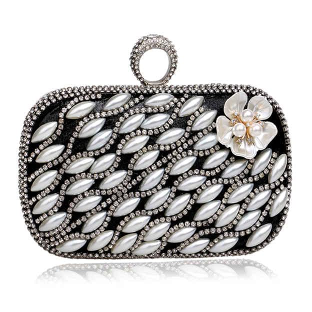 Special Polyester Clutches/Evening Bags With Imitation Pearls/Rhinestone