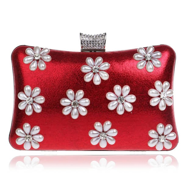 Girly Polyester Clutches/Evening Bags With Imitation Pearls