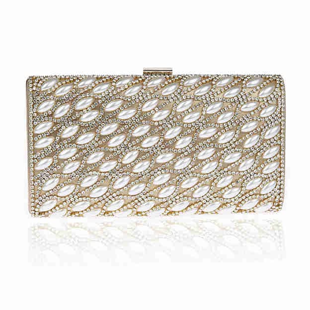 Attractive PU Clutches/Evening Bags With Imitation Pearls/Rhinestone