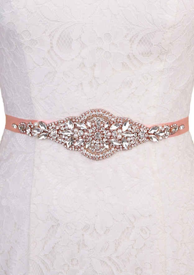 Charming Satin Sash With Rhinestones