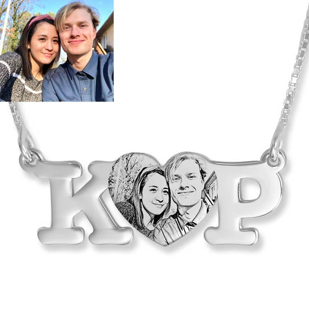 Personalized Customized 925 Sterling Silver Initial Photo Infinity Heart Irregular Necklaces Gift For Couple