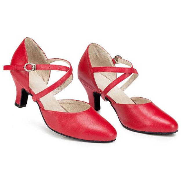 Women's Sheepskin With Buckle Close Toe/Heels Dance Shoes