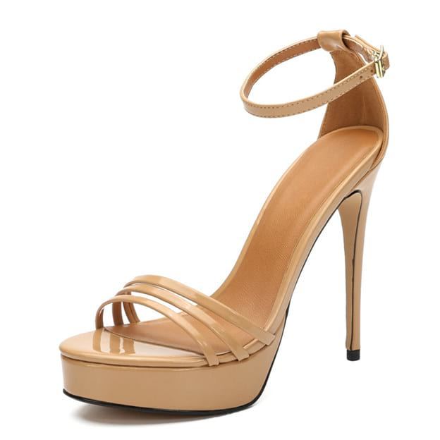 Women's Patent Leather With Ankle Strap Sandals/Heels Modern Fashion Shoes