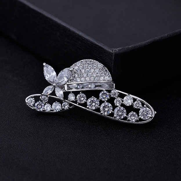 Women's Unique Silver Brooches With Cubic Zirconia