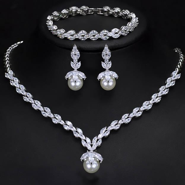 Women's Elegant Silver Jewelry Sets With Cubic Zirconia