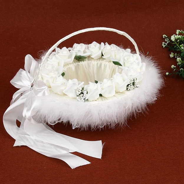 Romantic Flower Basket in Satin With Feather/Flower