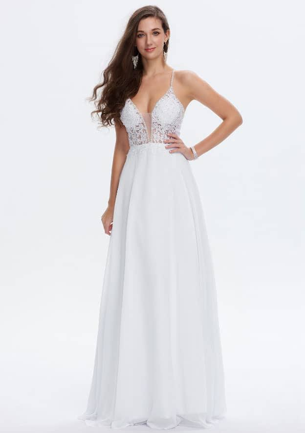 A-line/Princess Sleeveless Long/Floor-Length Chiffon Prom Dress With Sequins/Beading