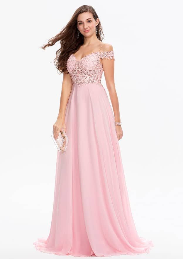A-line/Princess Sleeveless Sweep Train Chiffon/Satin Prom Dress With Appliqued