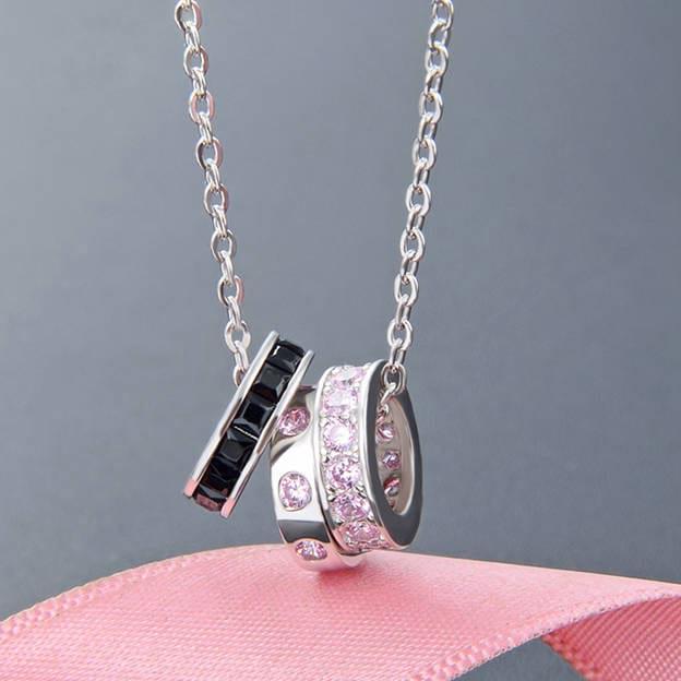 Women's Elegant S925 Sliver Necklace With Rhinestone