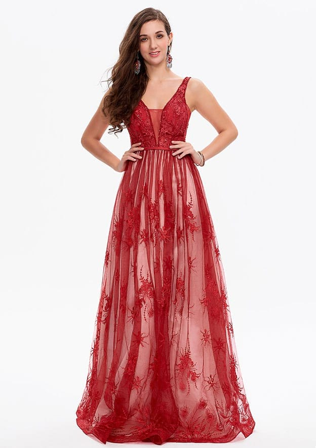 A-line/Princess Sleeveless Long/Floor-Length Lace Prom Dress
