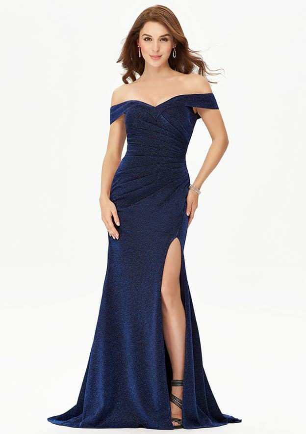 Sheath/Column Sleeveless Long/Floor-Length Glittering Metallic Jersey Prom Dress With Glitter Split Pleated
