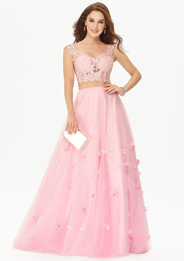 A-line/Princess Sleeveless Long/Floor-Length Tulle Prom Dress With Flowers