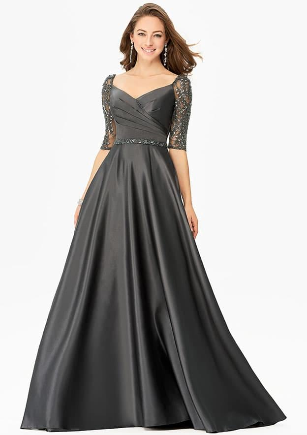 A-line/Princess Half Sleeve Long/Floor-Length Satin Mother of the Bride Dress With Sequins Pockets Beading Pleated