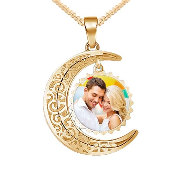 Personalized Photo Sun & Moon Necklace