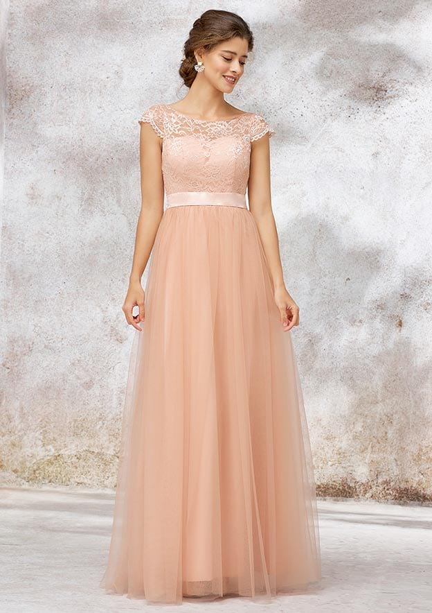 A-line/Princess Bateau Long/Floor-Length Tulle Bridesmaid Dress With Sashes Lace
