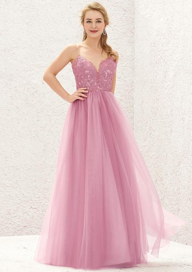 A-line/Princess Sleeveless Long/Floor-Length Tulle/Satin Bridesmaid Dress With Lace