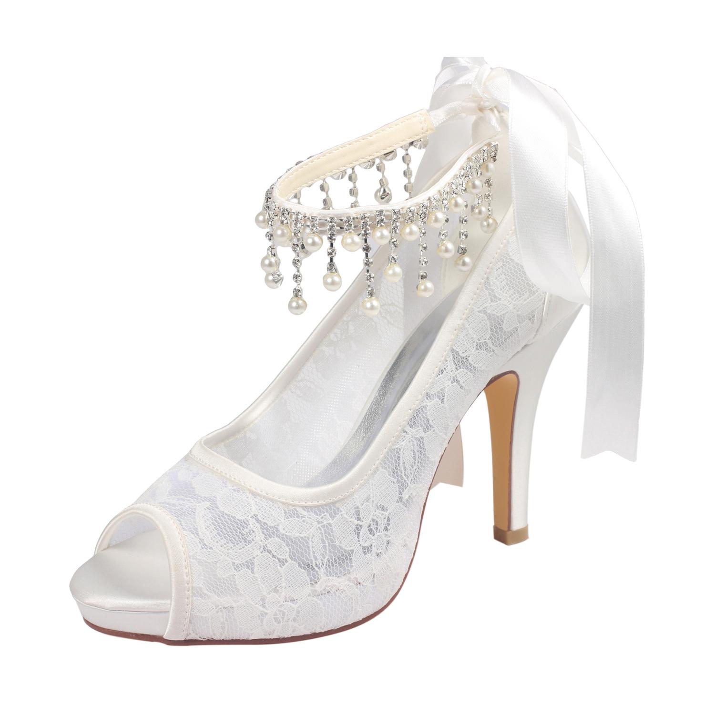 Women's Lace With Rhinestone Imitation Pearl Peep Toe Wedding Shoes
